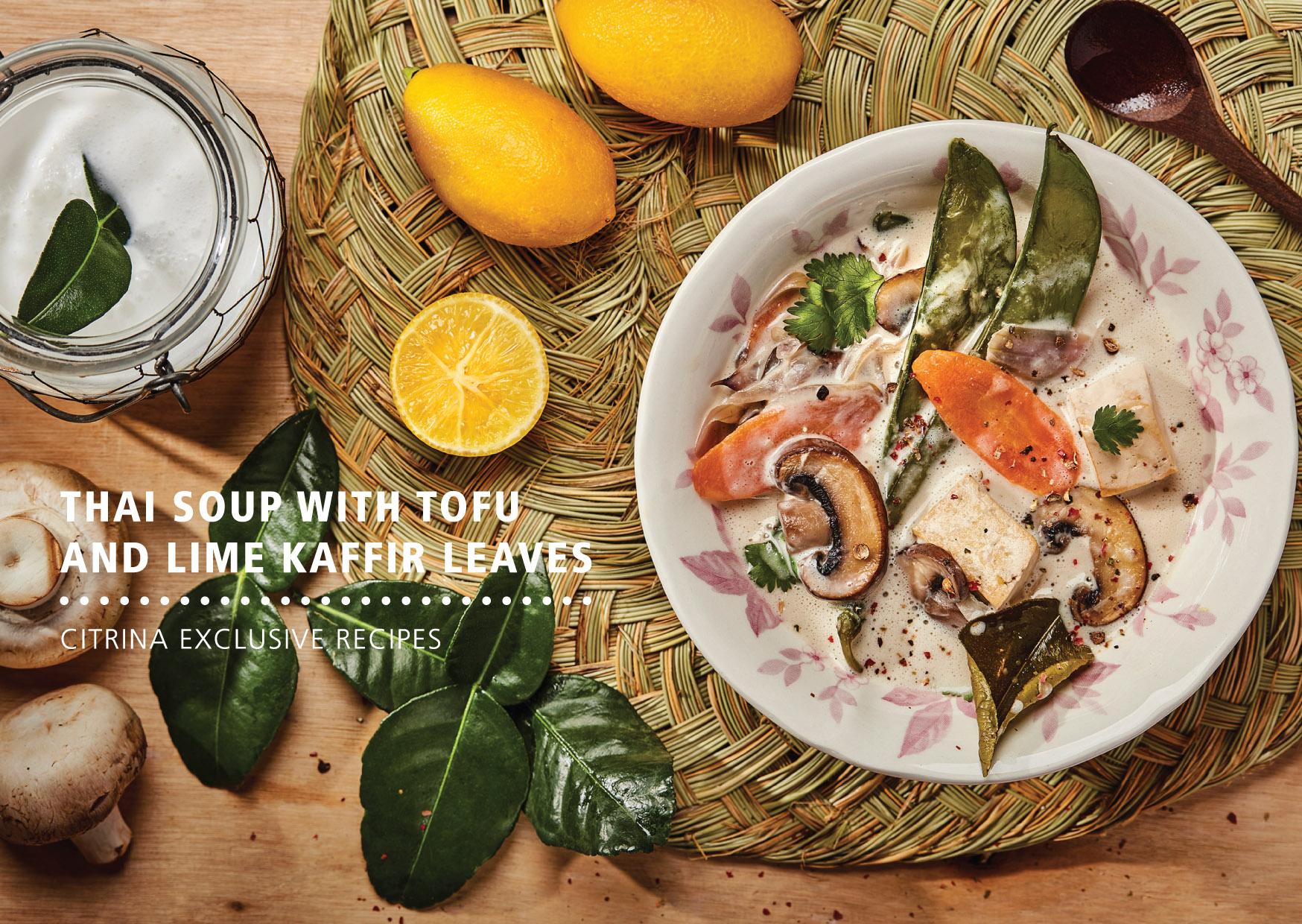 Lima Kaffir - Lamai Sopa Thai com Tofu e folhas de Lima Kaffir
